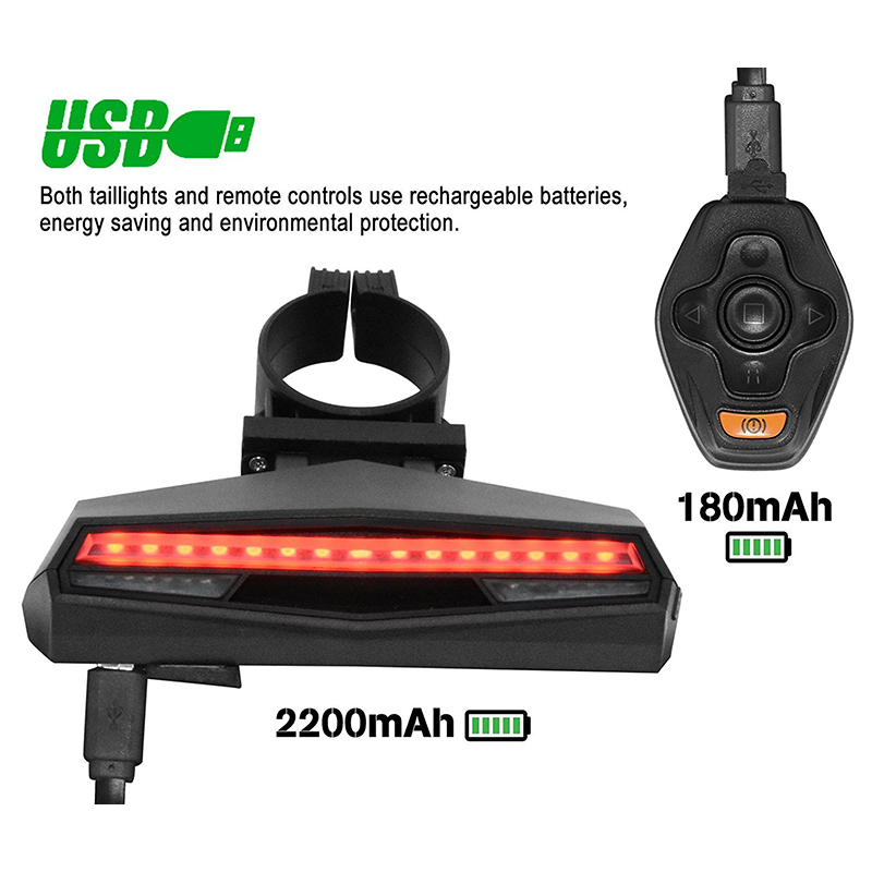 Greenpedel High Quality 85 LUX Smart Rear LED Taillight with Remote Controller And Rechargeabble Battery